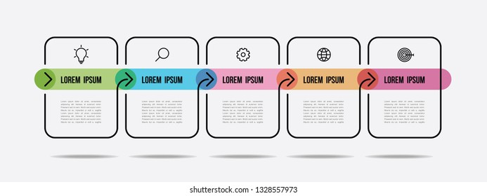 infographic  color line design with icons and arrow
