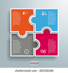 Infographic with colored rectangle puzzle pieces on the grey background. Eps 10 vector file.