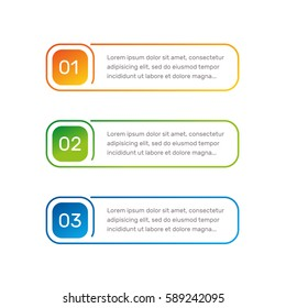 Infographic colorful numbers from 1 to 3 and text columns vector illustration