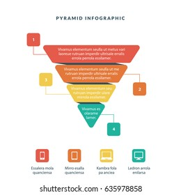 Infographic colorful pyramid inverted with 4 floors and icons