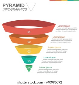 Infographic colorful pyramid inverted with 5 floors and icons