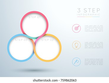 Infographic Colourful 3 Step Interweaving Circle Diagram
