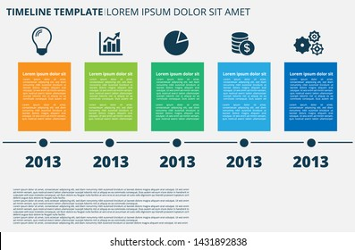 Infographic Company Milestones Timeline Template with modern color and icon