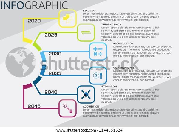 Infographic Companys Future Plans Timeline 6 Stock Vector