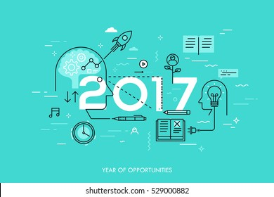 Infographic concept: 2017 - year of opportunities. New trends in idea generation, time management, experience exchange, self-education and self-development. Vector illustration in thin line style.