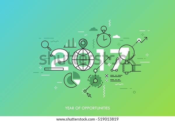 Concepto gráfico 2017 año de oportunidades. Nuevas tendencias y perspectivas globales en búsqueda en línea, herramientas de internet para negocios y gestión de proyectos. Ilustración vectorial en estilo de línea delgada.