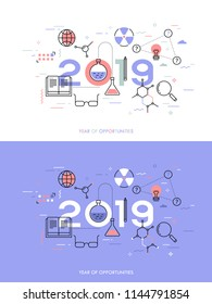 Infographic concept, 2018 - year of opportunities. Plans, trends and expectations in science, education, scientific research and development, higher education. Vector illustration in thin line style.