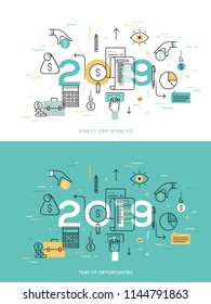 Infographic concept, 2018 - year of opportunities. New trends, prospects, plans and predictions in accounting, financial consulting, personal budget planning. Vector illustration in thin line style. - Shutterstock ID 1144791863