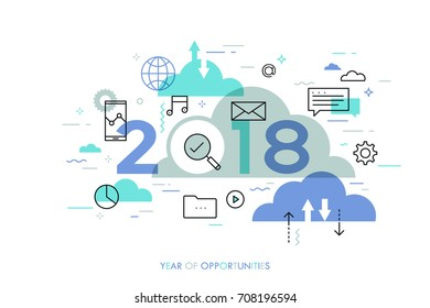 Infographic concept, 2018 - year of opportunities. Hot trends and prospects in cloud computing services and technologies, big data storage, communication. Vector illustration in thin line style.