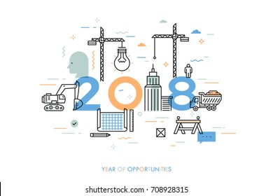 Infographic concept, 2018 - year of opportunities. Plans and prospects in construction, engineering, architecture, modern urban design and city development. Vector illustration in thin line style.