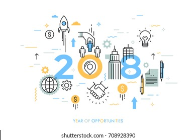 Infographic concept, 2018 - year of opportunities. Trends and prospects in business development and profit growth strategies, deal making, personnel management. Vector illustration in thin line style.