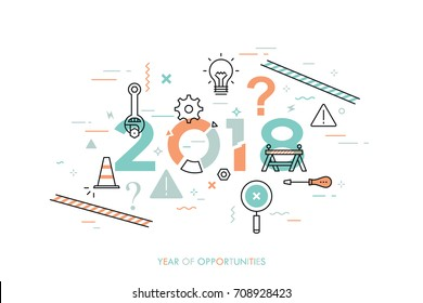 Infographic concept, 2018 - year of opportunities. New trends, plans, prospects and predictions in website repair and maintenance, technical support services. Vector illustration in thin line style.
