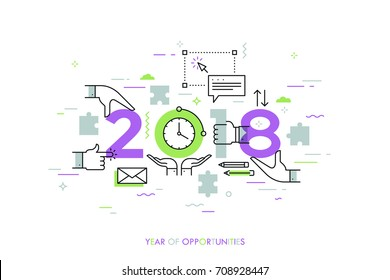 Infographic concept, 2018 - year of opportunities. Trends and perspectives in time management, effective daily planning, coordinated work and cooperation. Vector illustration in thin line style.