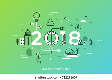 Infographic concept 2018 year of opportunities. New trends and prospects in environmental and eco-friendly technologies, energy saving, ecological recycling. Vector illustration in thin line style.