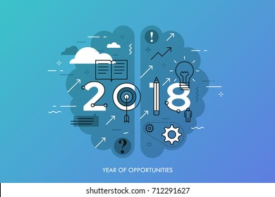 Infographic concept 2018 year of opportunities. New hot trends and prospects in education, global learning, idea generation, self-improvement techniques. Vector illustration in thin line style.