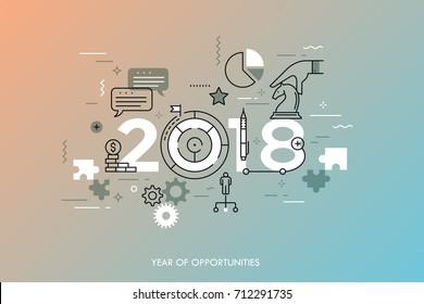 Infographic concept 2018 year of opportunities. Future trends and prospects in business challenges, strategies, international networking, communication. Vector illustration in thin line style.