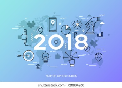 Infographic concept, 2018 - year of opportunities. Trends and predictions in international business expansion strategies, market entry, strategic planning. Vector illustration in thin line style.