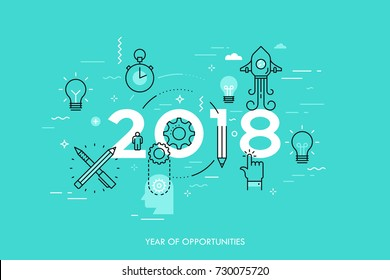 Infographic concept, 2018 - year of opportunities. New trends and predictions in startups, idea generation, innovations, modern thinking. Plans and prospects. Vector illustration in thin line style.