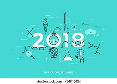 Infographic concept, 2018 - year of opportunities. Trends and predictions in science, education, scientific studies and discoveries, research, development. Vector illustration in thin line style.