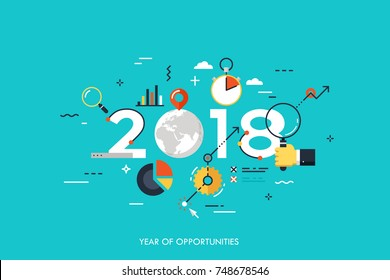 Infographic concept 2018 year of opportunities. New global trends and perspectives in online search, internet tools for business and project management. Vector illustration in flat style.