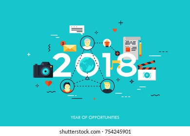 Infographic concept 2018 year of opportunities. New trends and prospects in global communication, online networking, social media, internet content sharing. Vector illustration in flat  style.