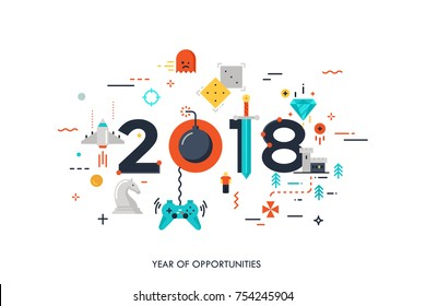 Infographic concept 2018 year of opportunities. New trends and prospects in game development, online gaming, game streaming applications, internet competitions for gamers. Vector illustration.