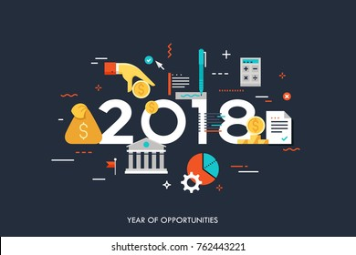 Infographic concept, 2018 - year of opportunities. New hot trends and predictions in economics, budget planning, money saving, tax and credit debt paying off. Vector illustration in flat style.