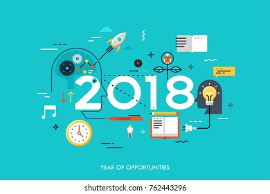 Infographic concept, 2018 - year of opportunities. New trends in idea generation, time management, experience exchange, self-education and self-development. Vector illustration in flat style.