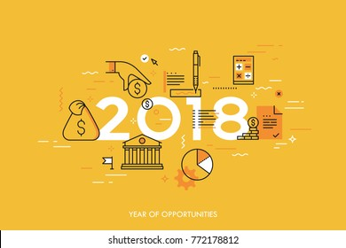 Infographic concept, 2018 - year of opportunities. New hot trends and predictions in economics, budget planning, money saving, tax and credit debt paying off. Vector illustration in thin line style.