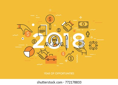 Infographic concept, 2018 - year of opportunities. Trends and prospects in personal budget planning, money saving, financial analysis, income growth strategies. Vector illustration in thin line style.