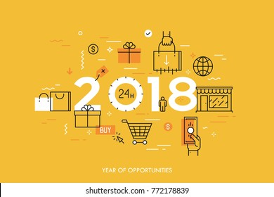 Infographic concept, 2018 - year of opportunities. Trends and prospects in online and offline shopping, electronic retailers, internet shops and discounts. Vector illustration in thin line style.