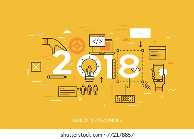 Infographic concept, 2018 - year of opportunities. Trends and prospects in web and mobile applications, software development, program coding, programmer tools. Vector illustration in thin line style.