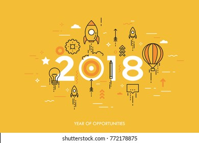 Infographic concept, 2018 - year of opportunities. New trends and expectations in startup launches, business development, profit growth, goal achievement. Vector illustration in thin line style.