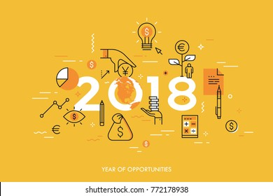 Infographic concept, 2018 - year of opportunities. Trends and prospects in economics, taxation, budget planning, money calculation and saving, personal banking. Vector illustration in thin line style.