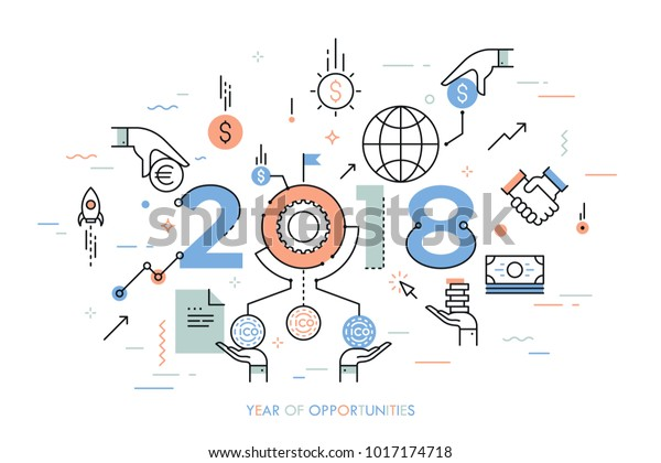 Infographic Concept 2018 Year Opportunities New Stock Vector