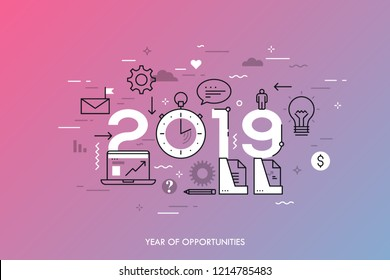 Infographic concept, 2019 - year of opportunities. New trends and prospects in business development, office work, time management, profit growth strategies. Vector illustration in thin line style.