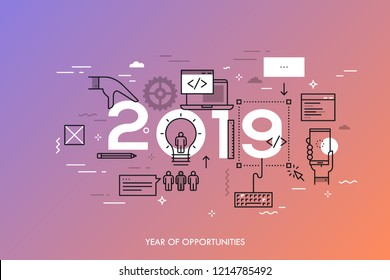 Infographic concept, 2019 - year of opportunities. Trends and prospects in web and mobile applications, software development, program coding, programmer tools. Vector illustration in thin line style.