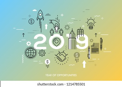 Infographic concept, 2019 - year of opportunities. Trends and prospects in business development and profit growth strategies, deal making, personnel management. Vector illustration in thin line style.