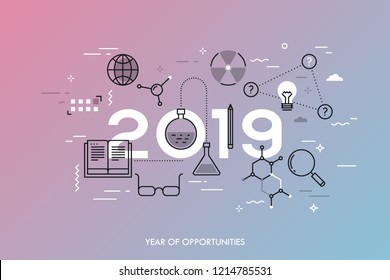Infographic concept, 2019 - year of opportunities. Plans, trends and expectations in science, education, scientific research and development, higher education. Vector illustration in thin line style.