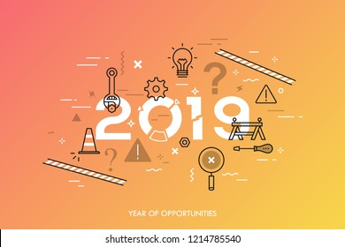 Infographic concept, 2019 - year of opportunities. New trends, plans, prospects and predictions in website repair and maintenance, technical support services. Vector illustration in thin line style.