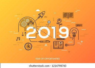 Infographic concept, 2019 - year of opportunities. New trends in idea generation, time management, experience exchange, self-education and self-development. Vector illustration in thin line style.