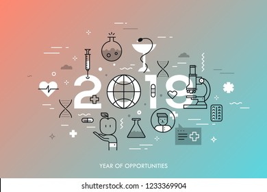 Infographic concept, 2019 - year of opportunities. Plans and perspective in medicine and healthcare, diseases treatment, medical research. Vector illustration in thin line style for web banner.