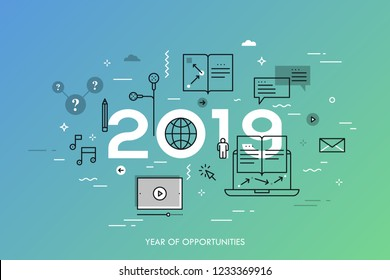 Infographic concept, 2019 - year of opportunities. New prospects and predictions in internet courses, distance education, self-improvement, online training. Vector illustration in thin line style.