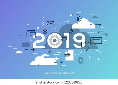 Infographic concept, 2019 - year of opportunities. Trends and perspectives in cloud computing services and technologies, big data storage and transfer. Creative vector illustration for web banner.