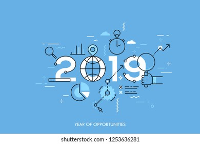 Infographic concept 2019 year of opportunities. New global trends and perspectives in online search, internet tools for business and project management. Vector illustration in thin line style.