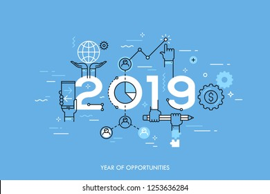 Infographic concept 2019 year of opportunities. New trends and prospects in global business communication, networking, teamwork strategies. Hopes and fears. Vector illustration in thin line style.