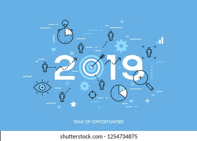 Infographic concept, 2019 - year of opportunities. Plans, trends and prospects in time management, goal setting and achievement, targeting, effective team work. Vector illustration in thin line style.