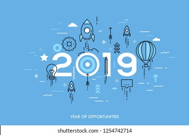 Infographic concept, 2019 - year of opportunities. New trends and expectations in startup launches, business development, profit growth, goal achievement. Vector illustration in thin line style.