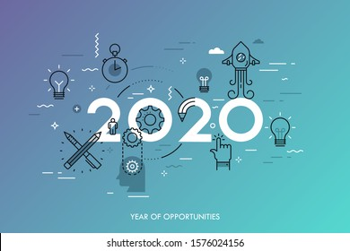 Infographic concept, 2020 - year of opportunities. New trends and predictions in startups, idea generation, innovations, modern thinking. Plans and prospects. Vector illustration in thin line style.
