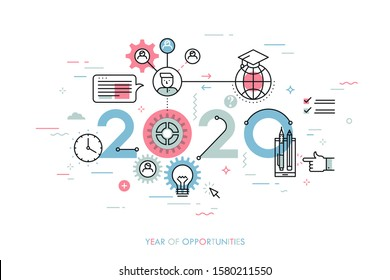 Infographic concept 2020 year of opportunities. New trends and prospects in international education, student exchange programs, online and distance learning. Vector illustration in thin line style.